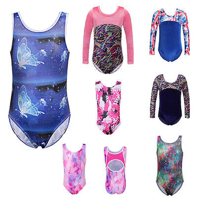 Youths Girls Gymnastic Leotards Sparkle Ballet Dance Unitards Cosutmes New 3-12Y