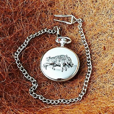 Antique Pewter American Wild Boar Emblem on a Chrome Pocket Watch