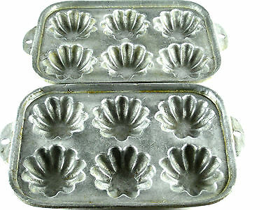 """Muffin Pan Cornbread Cast Aluminum 6 Round 3"""" Fluted Cakes 2 Pans Vintage Hangs"""