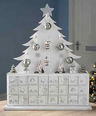 Christmas Advent Calendar Countdown Wooden Tree Xmas Decoration 24 Drawers White