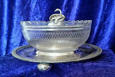 Antique Walker & Hall silver plated tray with Swan design glass bowl