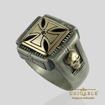 Knights Templar 14K Gold Ring Sterling Silver Skull Cross Masonic Size UNIQABLE
