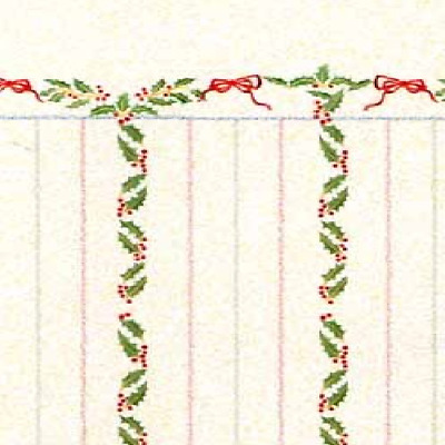Dolls House 12th scale wallpaper Christmas Stripes