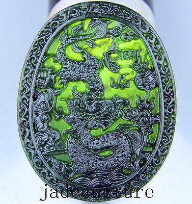 Chinese natural green black jade jadeite pendant hand-carved necklace  dragon
