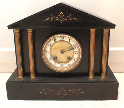 "French Marble / Slate Case Architectural Shape Striking Mantle Clock 11""H 13""L"