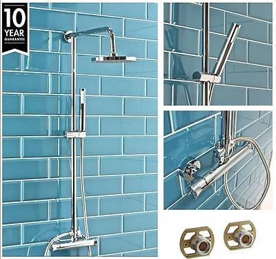 MODERN Round  TWIN HEAD THERMOSTATIC SHOWER MIXER CHROME BATHROOM EXPOSED VALVE