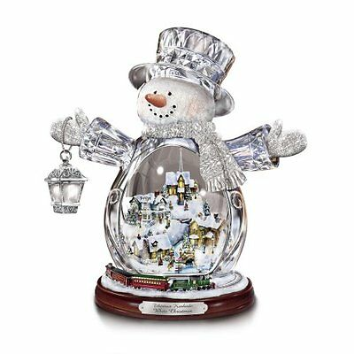 Thomas Kinkade Snowman Figurine Featuring Light-Up Village And Animated Train by