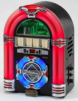 Steepletone Jive Rock Sixty Mini Retro Jukebox CD MP3 Remote Control Dark Oak