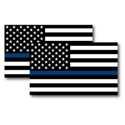 Thin Blue Line American Flag Magnets 2 Pack 3x5 inch Decals for Car or Fridge