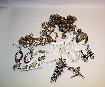 JOB LOT Vintage COSTUME JEWELLERY Earrings/Necklace/Brooch Etc - Spares/Repairs