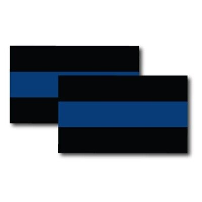 Thin Blue Line Magnets 2 Pack 3x5 inch Flag Decals for Car Truck SUV or Fridge