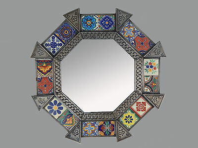 Mexican Punched Tin  MIRROR Mixed Talavera Tile Mexican #226 Nikel