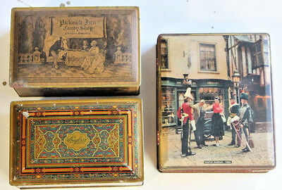 3 Lot Vtg Metal Tin Container Box HUYLER'S 1920'S CANCO BEAUTY YORK ENGLAND