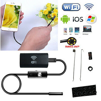 Wifi Wireless for iOS Android Endoscope 2.0MP 8mm 1M Tube Waterproof Camera