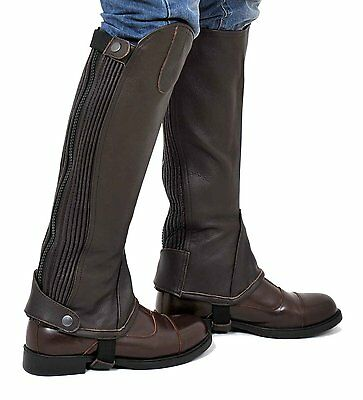 Riders Trend Chaps Full Grain Leather Gaiter with Dual Stretch Leather Panel S