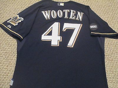 Rob Wooten 2014 Milwaukee Brewers alt blue game used jersey 2 patches MLB holo