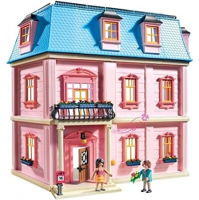 Deluxe Pink Dollhouse Playset, Girls Doll House Toy 3 story house with figures