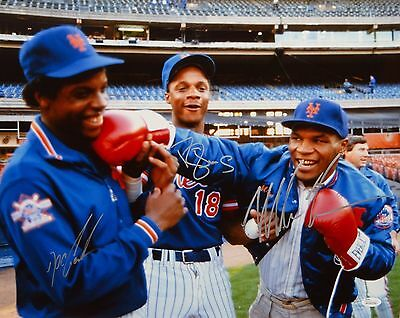 Mike Tyson Doc Gooden Darryl Strawberry Autographed 16x20 Color Photo-JSA W Auth