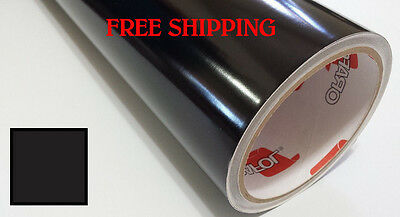 "Glossy BLACK Vinyl Graphics Decal Sticker Sheet Film Roll Craft 24"" FREE SHIP"