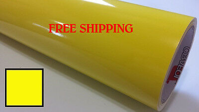 "Glossy BRIGHT YELLOW Vinyl Graphics Decal Sticker Sheet Film Roll 24"" FREE SHIP"