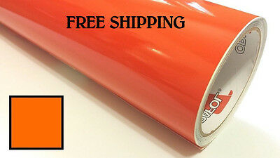 "Glossy ORANGE Vinyl Graphics Decal Sticker Sheet Film Roll Craft 24"" FREE SHIP"
