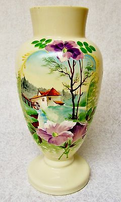 Large Stunning Hand Painted Solid Color Blown Or Molded Glass Vase Country Scene