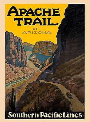 Apache Trail Arizona Southern Pacific United States Travel Advertisement Poster