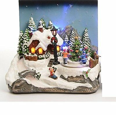Christmas Decoration LED Animated Village Children House Snow Scene Moving Tree