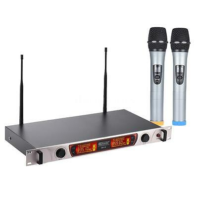 Dual-Channel Handheld Wireless UHF Microphone System 2 Mic+1 Receiver X4A9