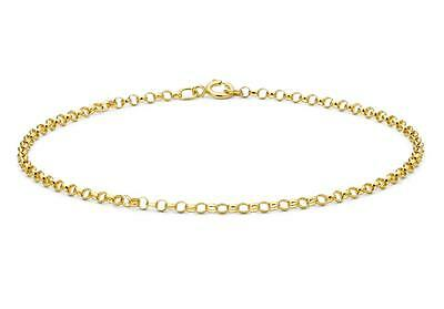 "Solid 9ct Yellow Gold Lightweight Belcher/Rolo Chain Bracelet 18cm/7"" 2mm Thin"