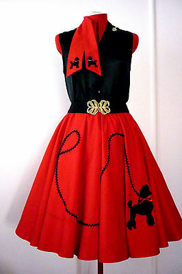 Rock N Roll Poodle Skirt & Scarf  Red / Black Poodle  Size S/m  New
