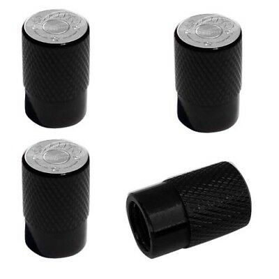 2 Black Billet Knurled Tire Valve Caps For Motorcycle Wheel - 45 AUTO BULLET