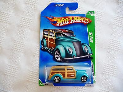2009 Hot Wheels TREASURE HUNT 1937 FORD TH Long Card '37 Ford Woodie Wagon Metal