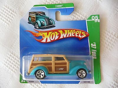 2009 Hot Wheels TREASURE HUNT 1937 FORD TH Short Card '37 Ford Woodie Metalflake