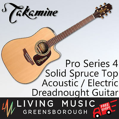 Takamine Pro 4 Dreadnought Cutaway Acoustic-Electric Guitar Solid Spruce Sapele