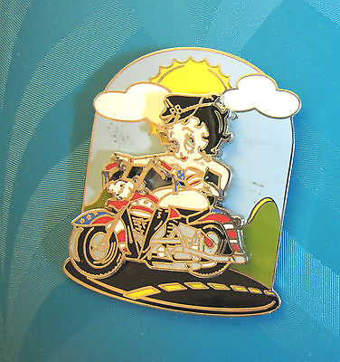 BETTY BOOP riding a motorcycle - ' SWING ' hat pin , lapel pin, tie tac GIFT BOX