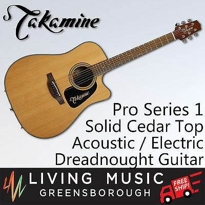 Takamine Pro 1 Dreadnought Cutaway Acoustic-Electric Guitar Solid Cedar + Sapele