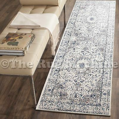 FORTUNA IVORY BLUE MEDALLION ANTIQUE STYLE TRADITIONAL RUG RUNNER 80x300cm **NEW