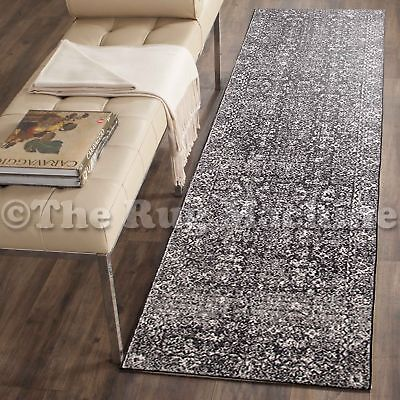 FORTUNA CHARCOAL BLACK ALLOVER ANTIQUE STYLE TRADITIONAL RUG RUNNER 80x300cm **N