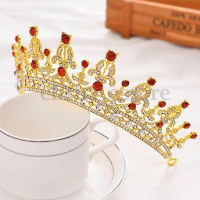Baroque Gold Bridal Girl Prom Jewelry Rhinestone Crown Tiara Comb HeadBand USA