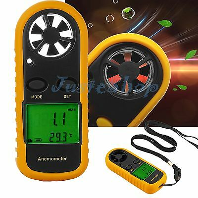 LCD Digital Handheld Anemometer Wind Speed meter thermomoter Surfing Sailing US