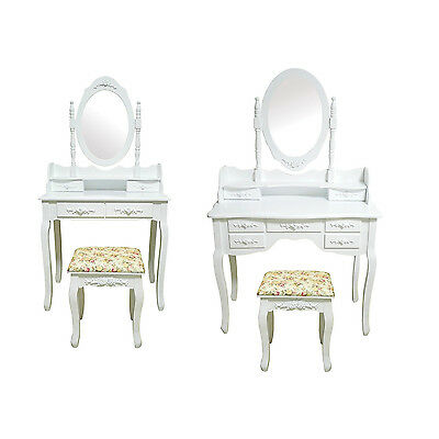 Dressing Table With Stool Bedroom Makeup Desk White Ivory Oval Mirror Vintage UK