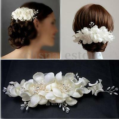 Bridal Wedding Bridesmaid Prom Hair Clip Fauxl Pearl Flower Hair Comb Tiara USA