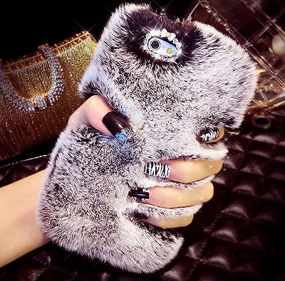 Winter Soft Warm Fluffy Fur Diamond Phone Case Cover For iPhone X 5s 6s 7 8 Plus