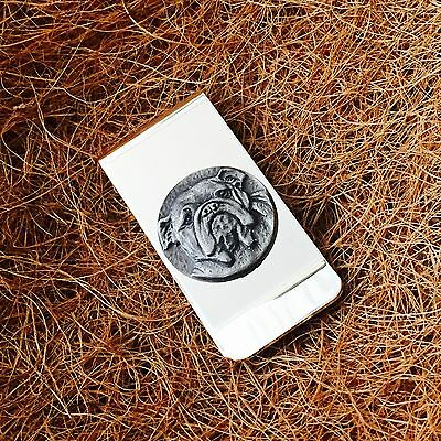 Silver Plated Money Clip with Antique Pewter American British Bulldog Emblem