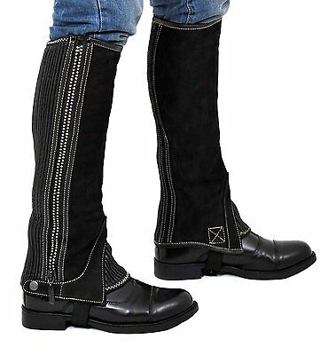 Riders Trend Girl's Nubuck Half Chaps with Crystal Diamontte Zipp Horse Black XL