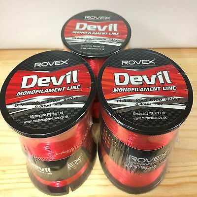 Rovex Devil Monofilament Mono Sea Fishing Line 4oz Bulk Spool - Red