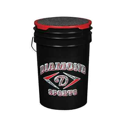 Diamond 6-Gallon Ball Bucket with Lid Black Padded Top Seating Comfort Secure
