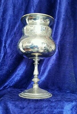 Antique Derby silver company silver plated engraved goblet / urn unusual