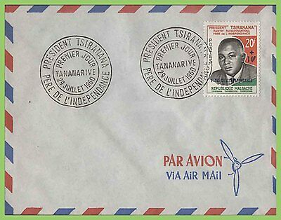 Malagasy 1960 President Tsiranana issue on u/a Airmail First Day Cover